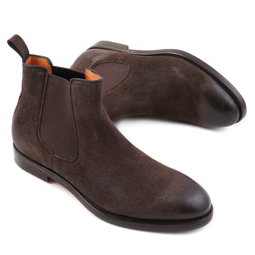 Santoni Chelsea Boots in Brown Waxed Suede