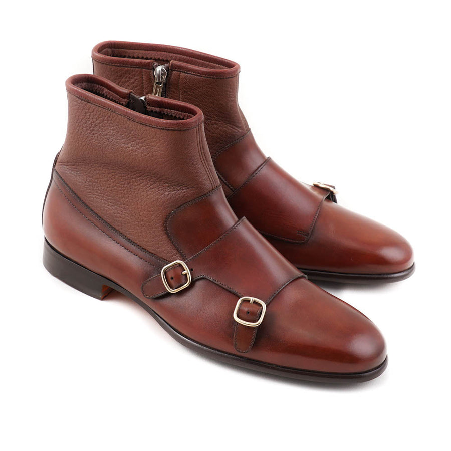 Santoni Monk Strap Boots in Cognac Brown