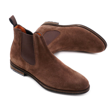 Santoni Chelsea Boot in Brown Suede
