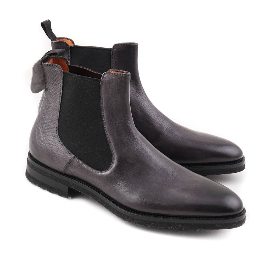 Santoni Ankle Boots in Dark Gray Leather