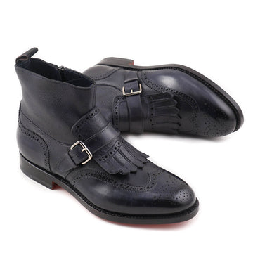 Santoni Navy Leather Boots with Buckle Detail