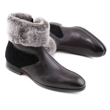 Santoni Shearling-Lined Boots with Fur Collar