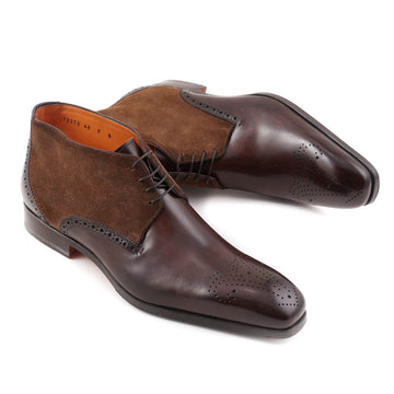 Santoni Brown Leather and Suede Ankle Boots - Top Shelf Apparel