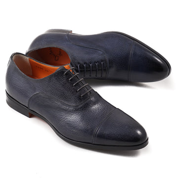 Santoni Cap-Toe Oxford in Navy Blue