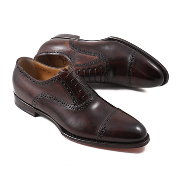 Santoni Cap-Toe Oxford in Dark Brown