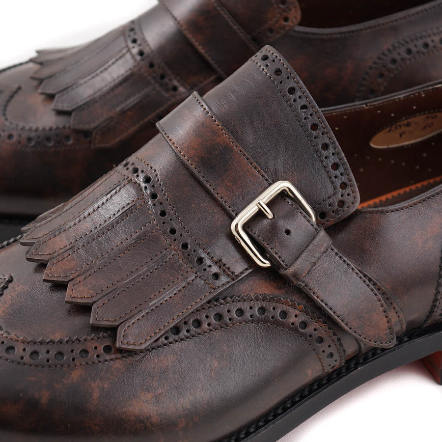 Santoni Brogued Monk Strap in Dark Brown