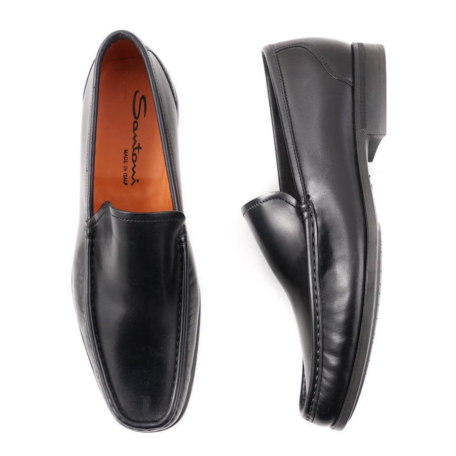Santoni Black Leather Venetian Loafers