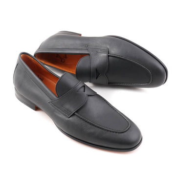 Santoni Soft Leather Loafers in Matte Gray