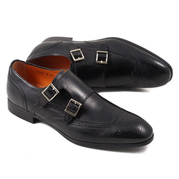 Santoni Double Monk Strap in Black