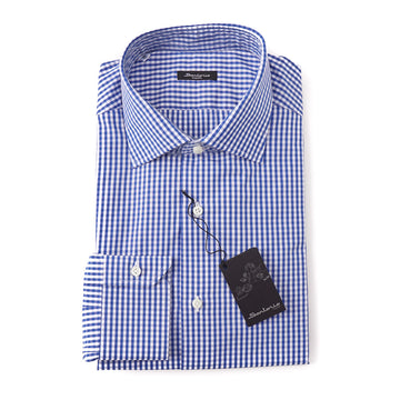 Sartorio Cotton Shirt in Blue Gingham Check - Top Shelf Apparel