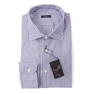 Sartorio Cotton Shirt in Navy Blue Bengal Stripe - Top Shelf Apparel