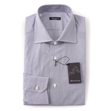 Sartorio Cotton Shirt in Navy Blue Micro Stripe