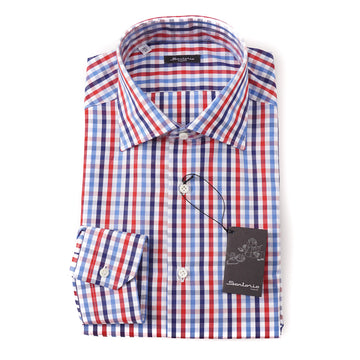 Sartorio Cotton Shirt in Blue and Red Check - Top Shelf Apparel
