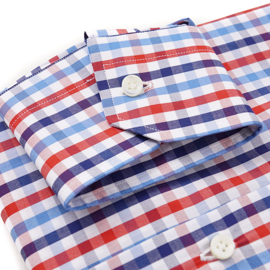 Sartorio Cotton Shirt in Blue and Red Check