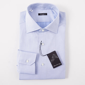 Sartorio Cotton Shirt in Solid Sky Blue Twill - Top Shelf Apparel