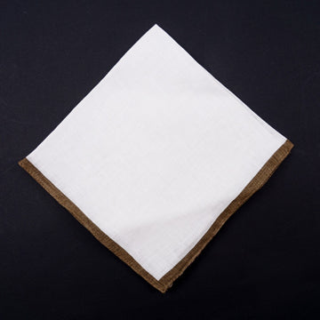 Roda Linen Pocket Square with Contrast Border
