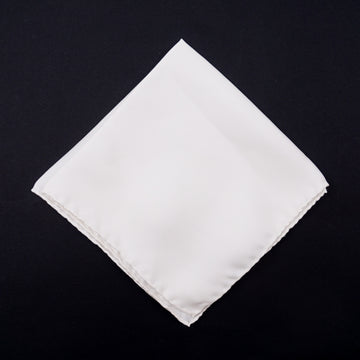 Roda Ivory White Silk Pocket Square