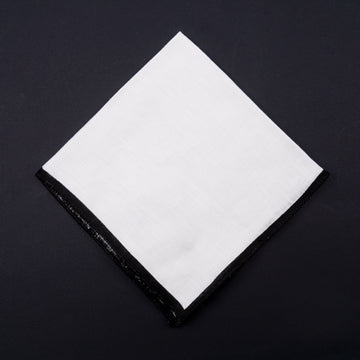 Roda Linen Pocket Square with Contrast Border - Top Shelf Apparel
