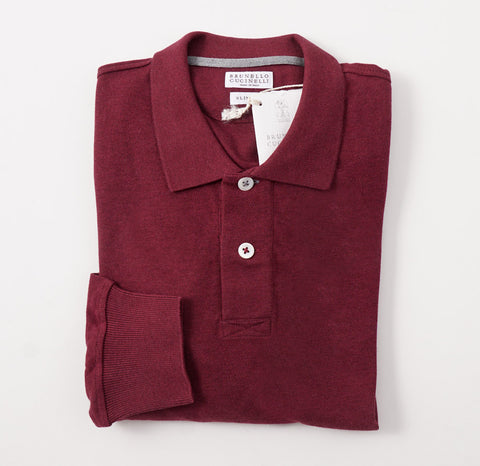 ad77738b1c8fc Brunello Cucinelli Long Sleeve Polo Shirt in Burgundy. Brunello Cucinelli.    249.00. Kiton Blue Cable Knit Cashmere Sweater