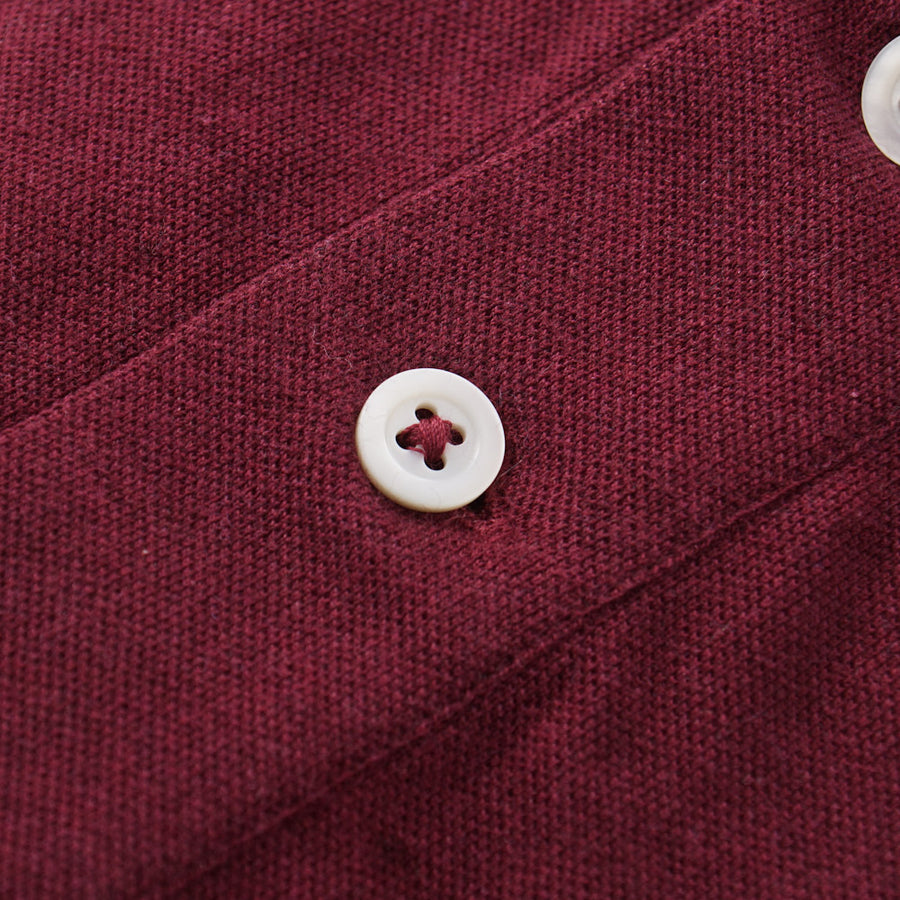 Brunello Cucinelli Long Sleeve Polo Shirt in Burgundy - Top Shelf Apparel