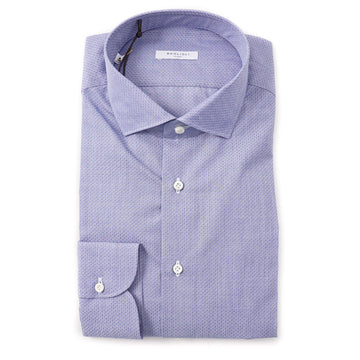 Boglioli Slim-Fit Cotton Shirt in Patterned Sky Blue