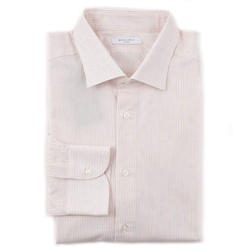 Boglioli Cotton Shirt in Cream-Red Stripe