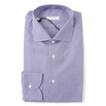 Boglioli Slim-Fit Cotton Shirt in Blue Houndstooth