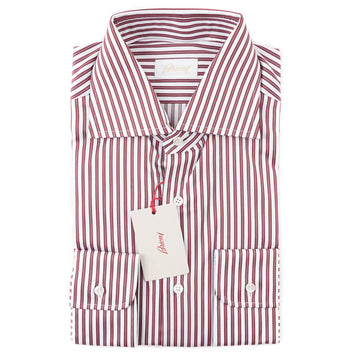 Brioni Modern-Fit Burgundy Stripe Cotton Shirt