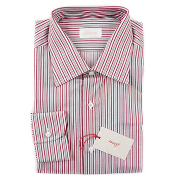 Brioni Burgundy-Gray Stripe Cotton Shirt