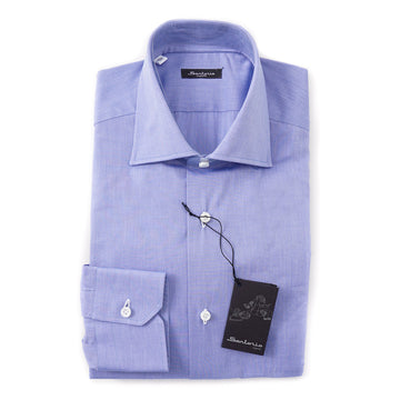 Sartorio Cotton Shirt in Medium Blue Pinpoint - Top Shelf Apparel