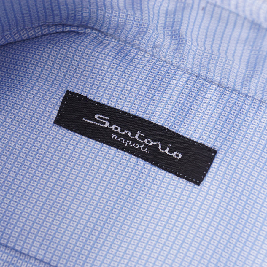Sartorio Cotton Shirt in Patterned Sky Blue