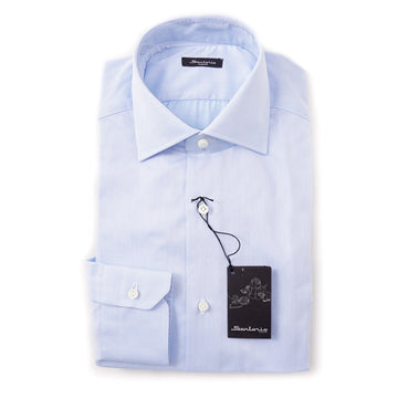 Sartorio Cotton Shirt in Sky Blue Woven - Top Shelf Apparel