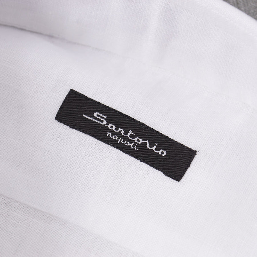 Sartorio Solid White Linen Dress Shirt