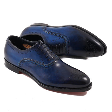 Santoni Blue Medallion Tip Oxford
