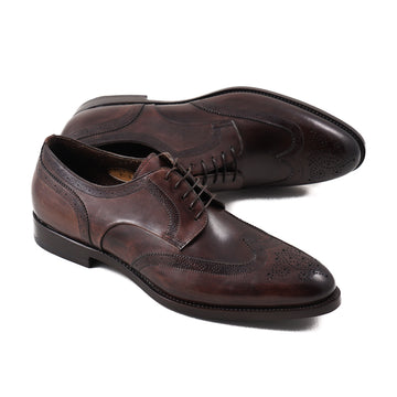 Santoni Dark Brown Wingtip Derby