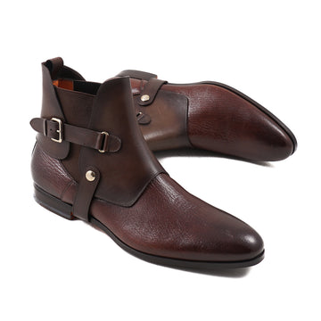 Santoni Brown Ankle Boots with Buckle Detail