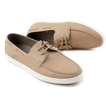 Brioni Tan Calf Leather Boat Shoes