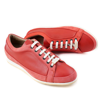 Brioni Coral Red Satin Calf Leather Sneakers