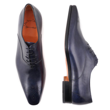Santoni Medallion-Tip Oxford in Navy Blue