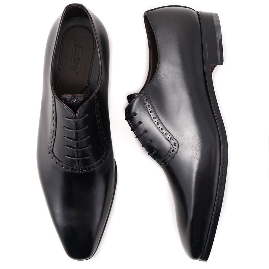 Brioni Black Wholecut Balmoral with Brogue Detail
