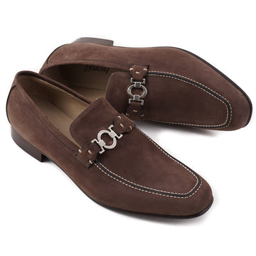 Brioni Brown Nubuck Leather Loafers with Bit Detail - Top Shelf Apparel