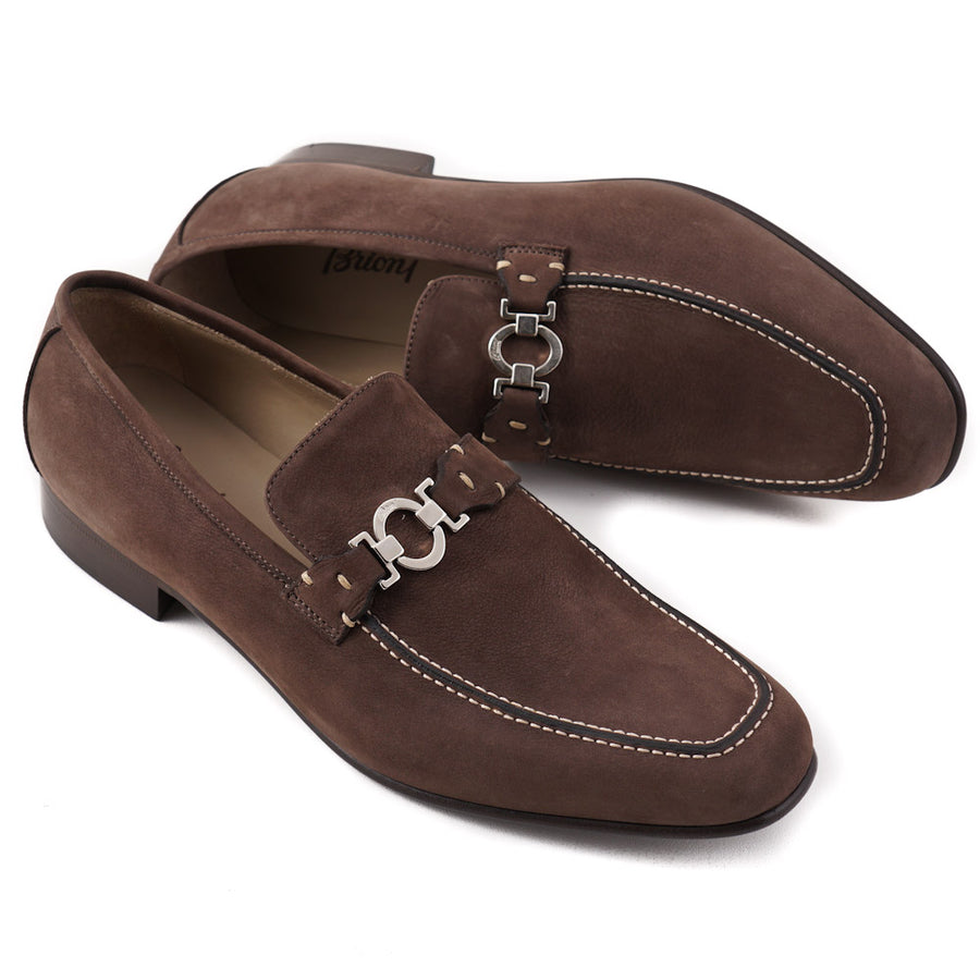 Brioni Brown Nubuck Leather Loafers with Bit Detail