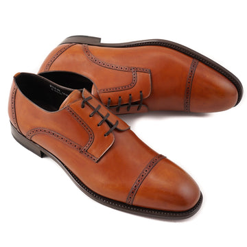 Brioni Limited-Edition Cognac Brown Cap Toe Derby
