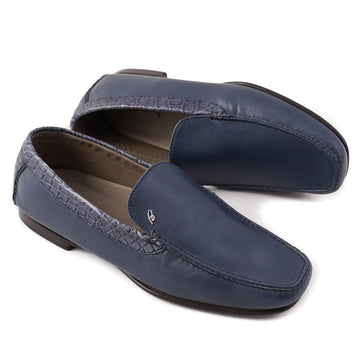 Brioni Slate Blue Loafers with Crocodile Detail