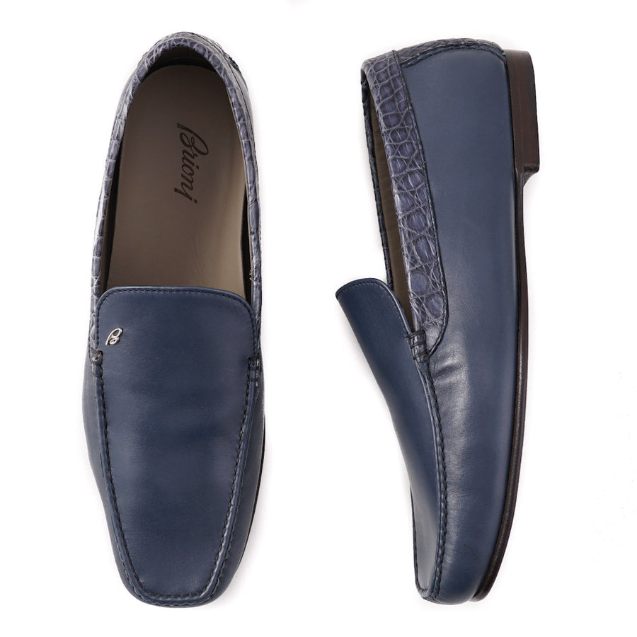 Brioni Slate Blue Loafers with Crocodile Detail - Top Shelf Apparel