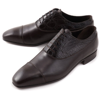 Brioni Dark Brown Shoes with Crocodile Detail