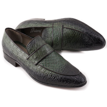Brioni Forest Green Crocodile Loafers