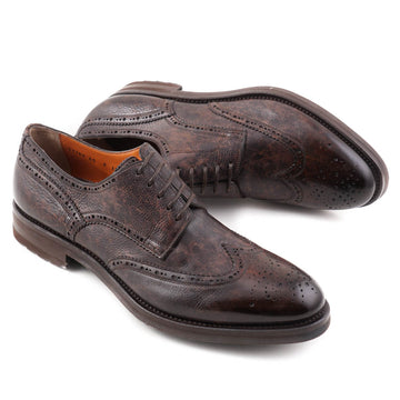 Santoni Wingtip Derby in Antiqued Brown