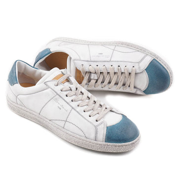 Santoni White and Blue Vintage-Look Sneakers
