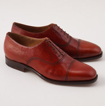 Silvano Lattanzi Brogued Cap Toe Balmoral in Red